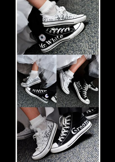 Bride & Groom Custom Wedding Converse by ANWdesigner on Etsy - Bridal Gowns Wedding Groom, Bride Groom, Our Wedding, Dream Wedding, Wedding Venues, Tipi Wedding, Budget Wedding, Trendy Wedding, Wedding Stuff
