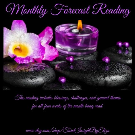 "This ""Monthly Forecast"" reading includes blessings, challenges, and general themes for all four weeks of the month being read.    #Tarot #TarotCards #TarotReading #Spiritual #Spirituality #TarotReadings #OnlineTarot #MonthlyForecast #Divination #PyschicAdvice #Psychic #MonthlyTarot #MonthlyReading #Magic #TarotLife #TarotInsightByEliza"