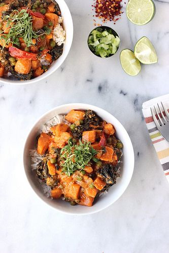 30-Minute Sweet Potato and Kale Coconut Curry {Gluten-free and Vegan} // Dinner and leftovers for lunch.