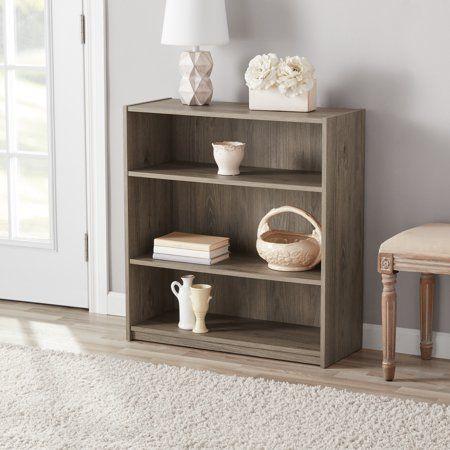 Mainstays 31 3 Shelf Standard Bookcase Black Walmart Com Bookcase Shelves Wood Bookshelves