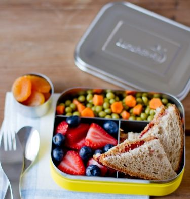 LunchBots Trio Stainless Steel 3 Compartment Divided Food Container LunchBots Trio Stainless Steel Food Containers feature three compartments for balanced snacks: grapes, cheese and crackers; sushi, edamame and carrots; pasta, chicken and cherry tomatoes—the combinations are endless! Whatever you pack, LunchBots make meals more appetizing, helping ensure your food containers return home empty.