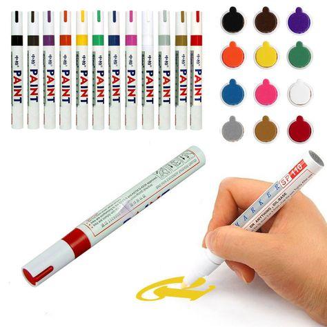 New Permanent Paint Art Pen Car//Bike Tyre Tire Glass Metal Marker Set of 12 Pens