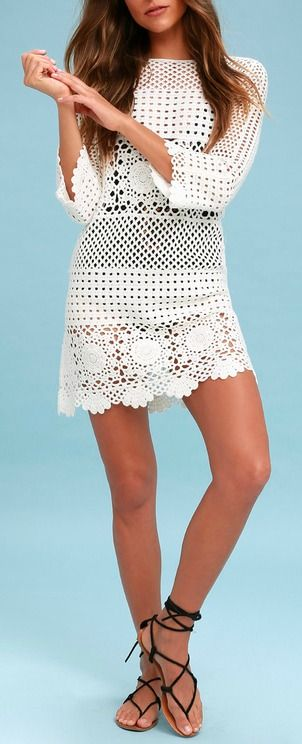 f03823a28c7 Lulus | Willow Off White Crochet Swim Cover-Up | Size Medium | 100% Cotton  | Best of New | Dresses, Summer outfits, Ladies dress design