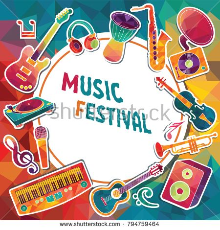 Colorful Music Background Music Instruments Music Festival Poster Vector Illustration