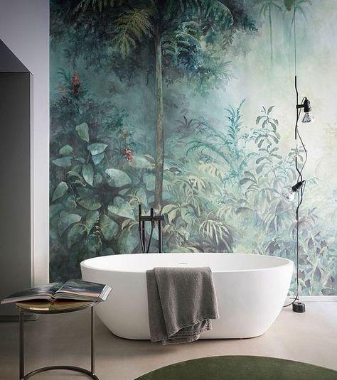 On Craque Pour Le Papier Peint Tropical Idee Salle De Bain