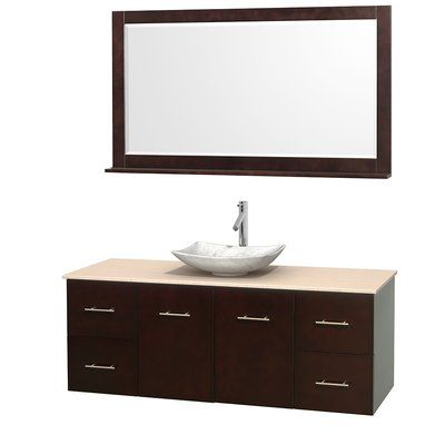 Wyndham Collection Centra 60 Wall Mounted Single Bathroom Vanity