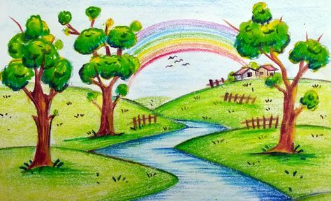 43 Ideas Painting Ideas For Children Teaching Student With Images Scenery Drawing For Kids Drawing Scenery Nature Drawing