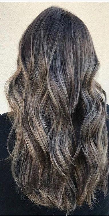 Ash Blonde Highlights On Dark Brunette Base Ash Blonde Highlights On Dark Hair Brunette Hair Color Brown Hair Balayage