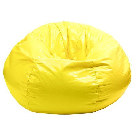 Blossoming Flowers Yellow Beanbag Pu Lazy Sofa Widening