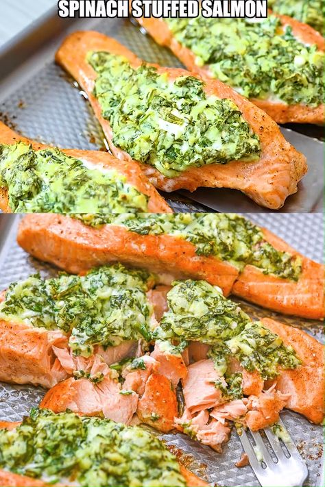 Tender and flaky salmon combined with creamy and smooth spinach stuffing… Oh yes, this Spinach Stuffed Salmon has it all. It is a great meal that's easy enough to make on a weeknight, but also fancy enough for an elegant dinner. FOLLOW Cooktoria for more deliciousness! #salmon #fish #seafood #lowcarb #dinner #keto #ketosis #recipeoftheday
