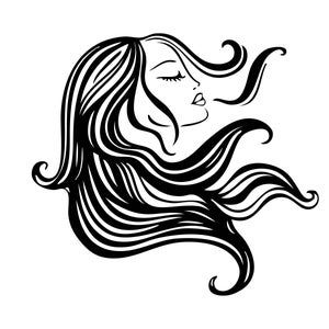Beautiful Woman Princess Brunette Long Hair Flowing Sign Image Etsy In 2021 Hair Vector Woman Silhouette Woman Illustration