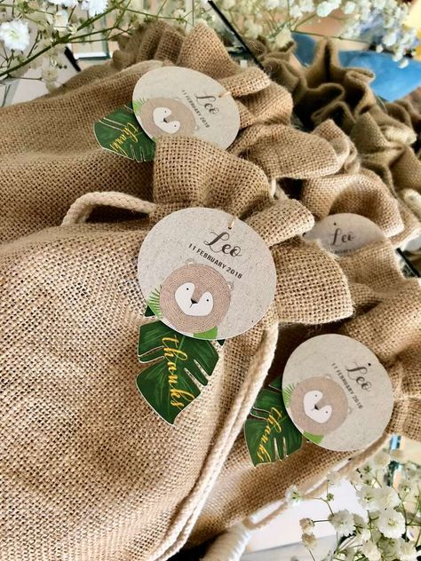 The rustic party favor bags at this Safari Birthday Party are so cute!! See more party ideas and share yours at CatchMyParty.com #catchmyparty #safari #partyfavor