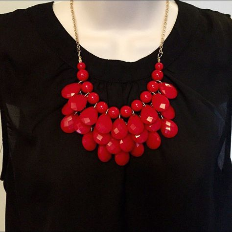 Fiesta Red Bubble Bib Beaded Chandelier Statement Necklace More Colors