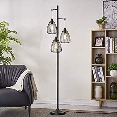 Leezm Black Industrial Floor Lamp For Living Room Modern Floor Lighting Rustic Tall Stand Up La Lamps Living Room Floor Lamps Living Room Farmhouse Floor Lamps