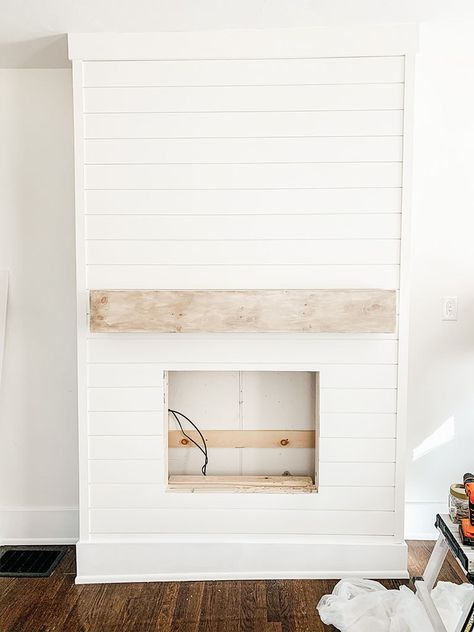 Fireplace Feature Wall, Shiplap Fireplace, Fireplace Tv Wall, Build A Fireplace, Fireplace Built Ins, Bedroom Fireplace, Farmhouse Fireplace, Fireplace Remodel, Living Room With Fireplace
