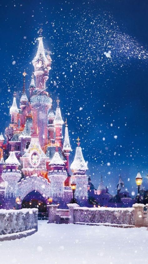 雪のふるシンデレラ城   スマホ壁紙/iPhone待受画像ギャラリー