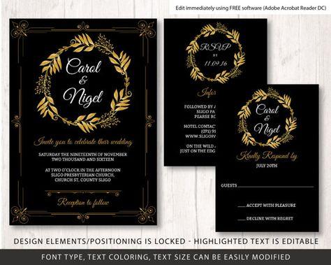 Gold And Black Wedding Invite Template Wedding Invite Etsy Vintage Wedding Invitations Templates Black And Gold Invitations Printable Wedding Invitations