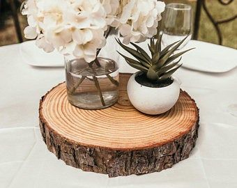 Fully Dry Wood Slices Rustic Wedding Centerpieces Rustic Wedding Decor Level Wood Slices With Bark Large Rustic Wood Slices Table Decor In 2020 Wood Slices Rustic Wedding Centerpieces Rustic Cake Stands