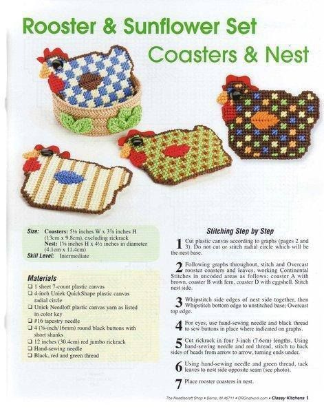 ROOSTER & SUNFLOWER COASTERS 1/3