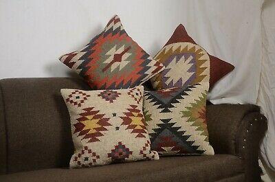 "4 Set of Jute Pillow Throw Indian Jute Cushion 18/"" Handmade Kilim Vintage 9064-A"