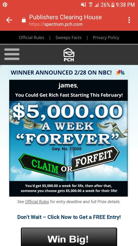 PCH Search &Win frontpage Find 3X Entries For $7,000 00 a