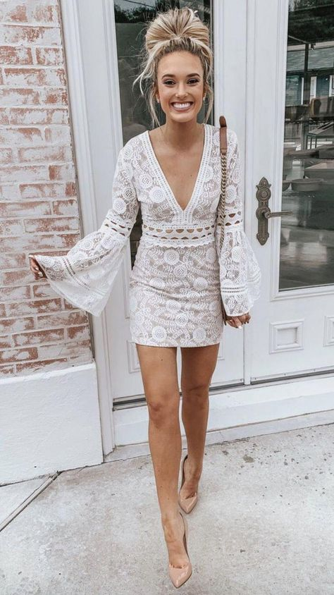 40 Outstanding Casual Outfits To Fall In Love With: Casual outfits for spring & fall to get inspired by! If you're looking for causal outfit inspiration, casual everyday outfits and fashion ideas, these 40 beautiful outfits by fashion bloggers will motivate you to look trendy in no time. | Image by ©️️ ChampagneAndChanel / White Lace Dress with Bellsleeves #bellsleevedress #whitelacedress #Casualeverydayoutfits #casualoutfits #outfitsinspiration #casualout #fashionoutfitsstyle