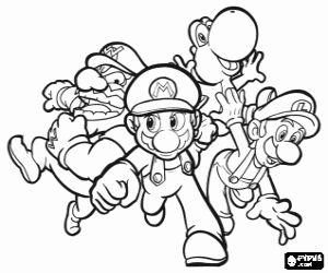 Wario, Mario, Yoshi and Luigi coloring page   Super mario ...