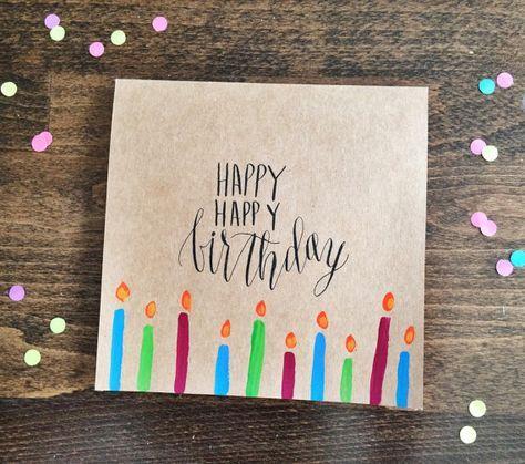 Happy Happy Birthday Card Handmade Kraft Card With Etsy In 2021 Happy Birthday Cards Handmade Happy Birthday Calligraphy Hand Lettering Cards