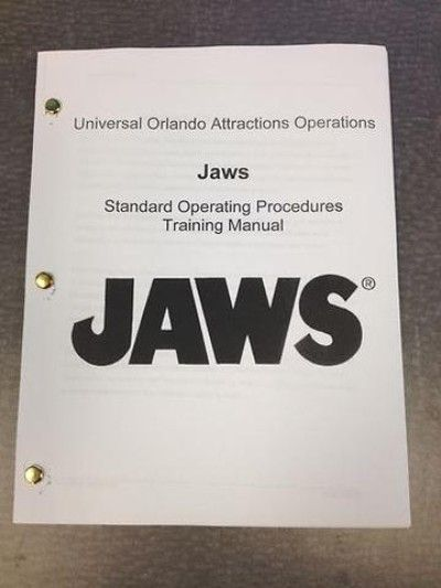 Rare JAWS RIDE Training Manual - 88 Pages - Universal Studios - training manual
