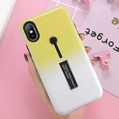 USLION Hide Ring Stand Case For iPhone X 8 Plus Candy Double Color Phone  Cases For iPhone 7 6 6s Plus TPU + Hard PC Back Cover Outfit Accessories  From ... f8458545e