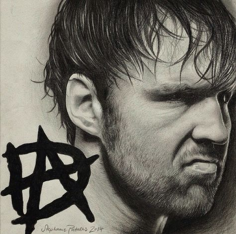 Drawing Of Dean Ambrose By Myself Black And Grey Pencil Dean Ambrose Dean Wrestling Stars
