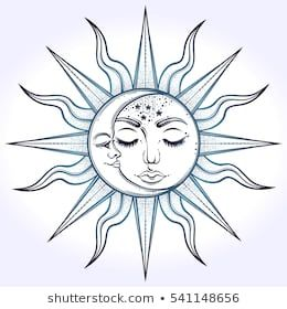 Vintage Hand Drawn Moon Sun Night Stock Vector (Royalty Free) 447843985