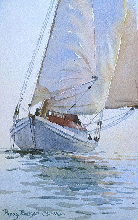 Three Sails By Poppy Balser Watercolor 10 X 7 Peinture De