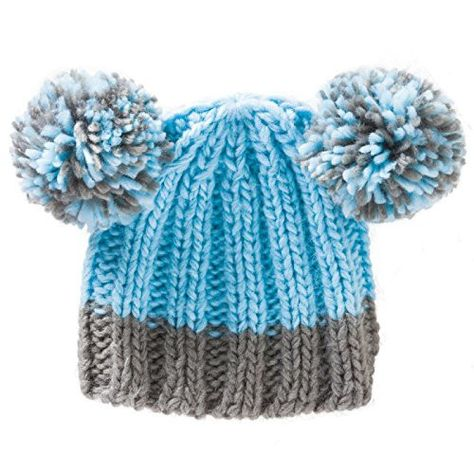d72cf29ad5e Blue Knit Baby Hat With Pom Poms For Ages 0 To 6 Months