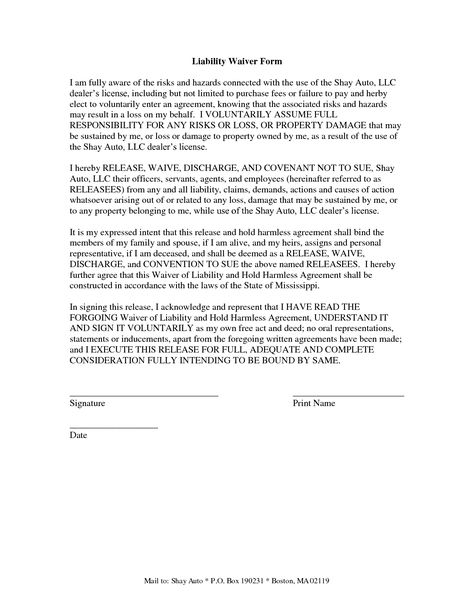 liability waiver template free – Free Waiver of Liability Form Template