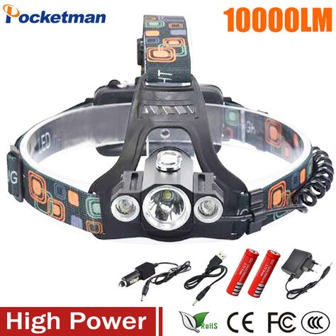 hard hat Headlight MsForce Newest and best Headlamp,Xtreme bright 5 LED head lamp provides 2500 lumens USB Rechargeable headlamp flashlight,maximum comfort,Adults Head lamps for Camping and hunting