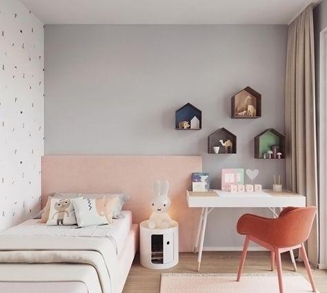 Une Chambre De Fille En Total Look Pastel Rose Pale Gris Perle