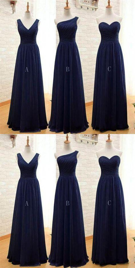 4e72a2ee401 Elegant Navy Blue Three Styles Sleeveless Empire Waist Chiffon Bridesmaid Dresses  Prom Dress  Blue  ElegantNavyBlue  Navy  Empire  dress  prom  elegant ...
