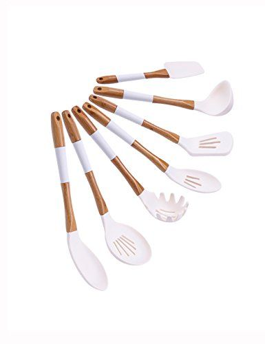 Horoya Ivory White Silicone Cooking Utensils Set 7 Piece Silicone