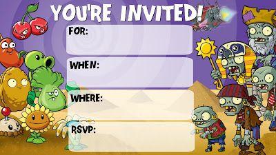 Plants Vs Zombies Invitations Zombie Birthday Parties Plants Vs Zombies Birthday Party Zombie Birthday