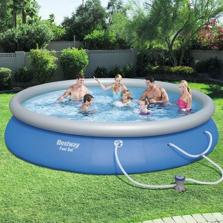 Bestway Fast Set Swimming Pool Set With 530 Gph Filter Pump 15 X 33 Walmart Com Above Ground Swimming Pools Swimming Pools Easy Set Pools