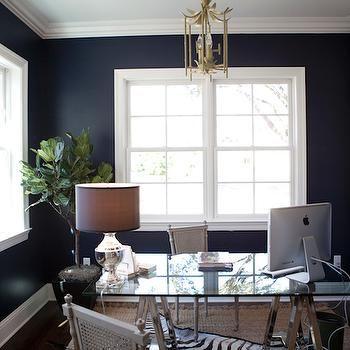 Navy Blue Office, Transitional, den/library/office, Tiffany Jones