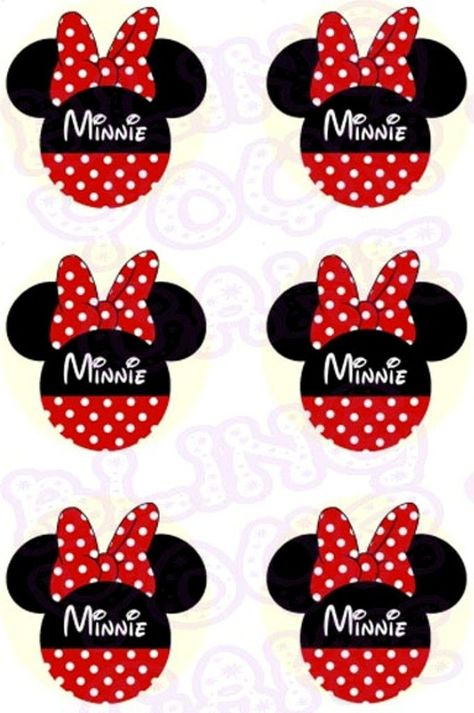 Disney Minnie Mouse Red Polka Dot Silhouette Inspired Edible Icing Cupcake or Cookie Decor Toppers - MMS4