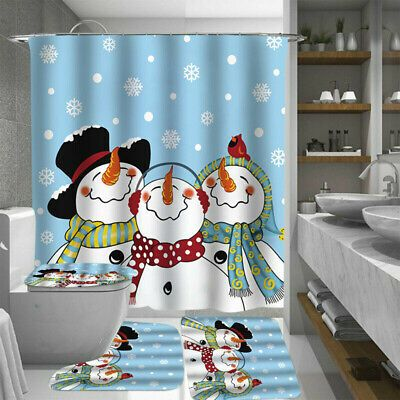Details About Christmas Snowman Shower Curtain Rug Non Slip Pad