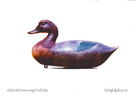 This is the only Charles Birch (1868-1956) green-winged teal decoy that I know of. Hollow with tack eyes.