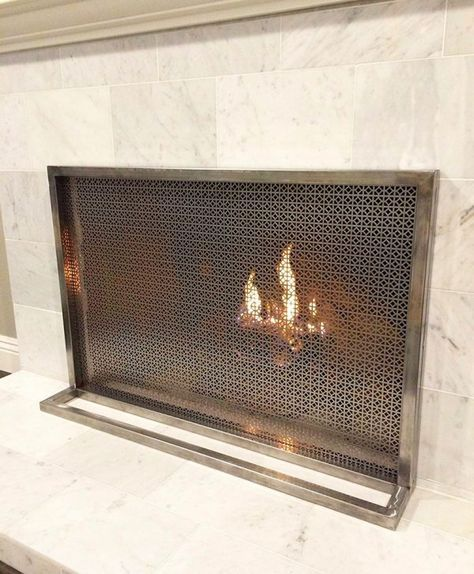 51 Decorative Fireplace Screens To Instantly Update Your Fireplace In 2020 Decorative Fireplace Screens Custom Fireplace Screens Fireplace Screens