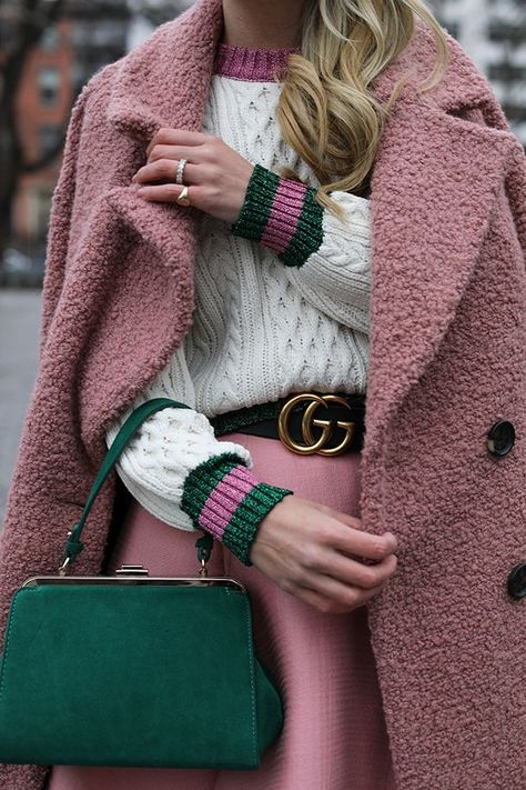 pink and green / fashion / winter style / street style / teddy coat / green bag / gucci / preppy style
