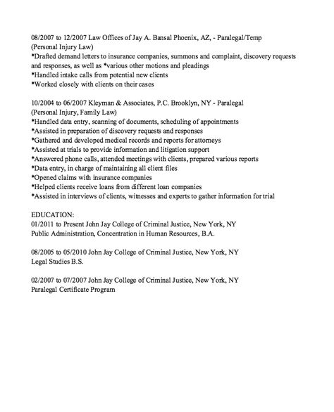 Criminal Paralegal Resume Sample - http\/\/resumesdesign - personal injury paralegal resume