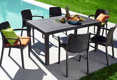 mesa y silla chocolate terraza