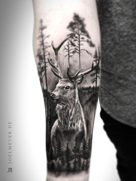 Deer Forest Realistic Tattoo Black and Grey Joel Meyer Deer Forest Realistic Tattoo Schwarz und Grau Joel Meyer